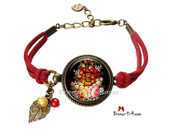 Bracelet * flowers * fantasy Bohemian red cabochon jewel