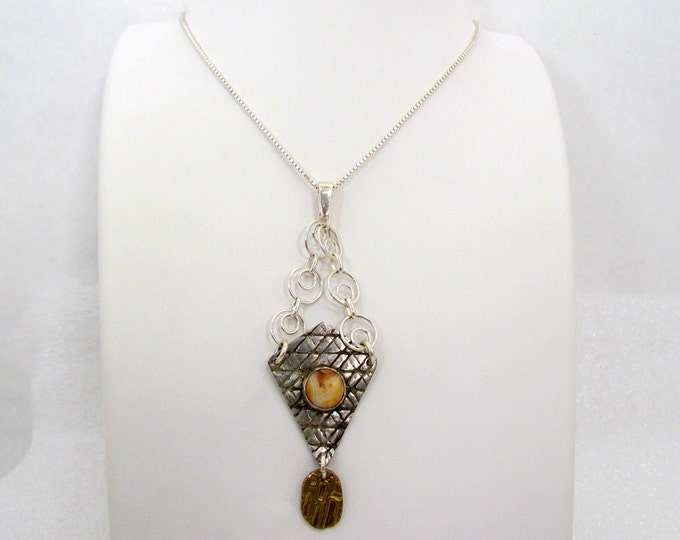 """Item 6050-""""Together at Last"""" Handcrafted, sculpted & carved 999 Fine Silver Bronze Crazy Lace Agate Sterling Silver Kite Shape Unique -"""