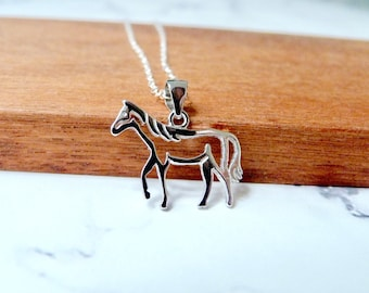 Horse necklace sterling silver, jockey jewelry, cowgirl gifts, cavalry, wrangler, horsewoman accessories