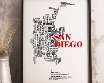 San Diego Map Art, San Diego Art Print, San Diego Neighborhood Map, San Diego Typography Art, San Diego Wall Decor, San Diego Moving Gift