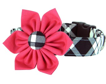 Hot Pink and Black Plaid Flower Dog Collar; Plaid Girl Dog Collar Flower Set: Eastham Plaid