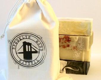 Soap gift set, 4 soaps in a gift bag, Brooklyn gift, natural soap, Brooklyn Made Natural soap gift set, brooklyn bridge, handmade soap set