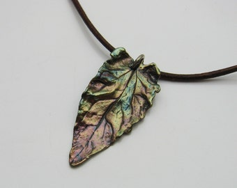 Handmade Silver Leaf on Brown Leather Cord Necklace, Leaf Jewelry, Tree Jewelry, Nature Jewelry, Colorful Jewelry, Leather Jewelry, Fall