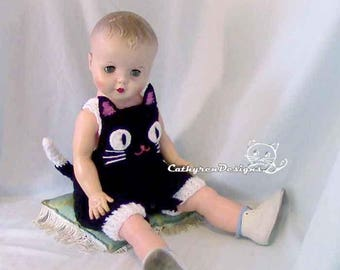 Baby Cat Overalls, Halloween Black Cat Costumes, Rompers, Buttons at Legs for Easy Change - INSTANT DOWNLOAD Crochet DIY Pattern