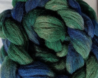 """Combed Top Babydoll Southdown Wool and Alpaca Blend Blue & Green Hand Dyed 2 Oz (More Avail) Spinning Fiber Felting  """"  Day in the Park  """""""