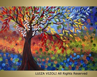 SEASONS  Original Oil Tree Landscape Oil Painting on 36x24 canvas by Luiza Vizoli