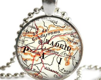 Madrid, Spain jewelry, spanish map necklace, Spain Map Jewelry by Location Inspirations