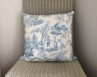 Funky and edgy Alexander Henry Toile de Jouy cushion