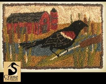Red Wing Black Bird Punchneedle Pattern Needle Punch