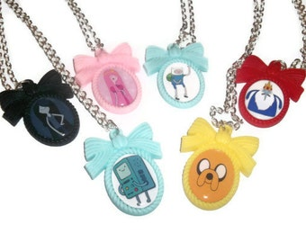 Adventure Time Cameo Necklace Set A, Choose 1 : Jake, Finn, Marceline, Princess Bubblegum, Ice King, BMO