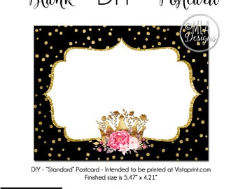 Crown Postcard, Crown Inviation, Princess Postcard, DIY Vistaprint Standard Size Postcard, Princess Glam, Notecard Inviation, Stationary