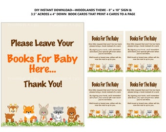 Woodland Books For Baby, Woodland Request Card, Woodland Bring A Book Instead Of A Card Insert, Book In Lieu Of Card -Printables 4 Less 0087