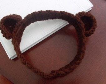 Hand Crocheted Monkey Headband