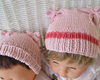 Pink baby hats
