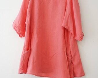 Women Loose fit Linen Long Dress, Oversize Top, Plus Size Dress, Coral Dress, Summer Dress