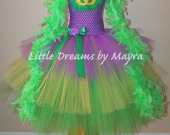Mardi gras inspired tutu dress with feather boa available in size 12months to 12years