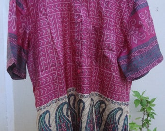 Men's Handmade Indian Sari Silk Button Down Front Pocket Shirt - Mauve w/ Paisley Bottom -  Nrupain F524