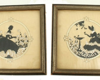 Vintage Silhouette Reverse Painting Hand Painted Buzza Company Garden Scene Set