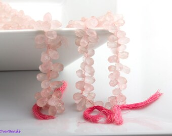 10pcs 8-10mm ROSE QUARTZ Faceted Briolettes Beads , Teardrops, Pears, Top Drilled ,High Quality, OV54