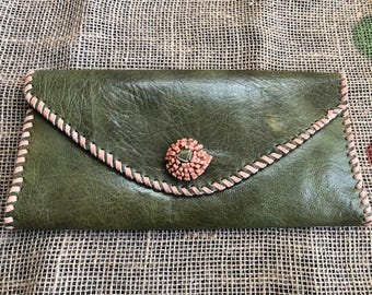 Green Leather African-inspired Envelope Clutch Purse