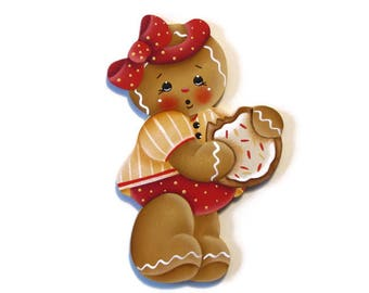 Ginger with Cookie Ornament or Fridge Magnet, Handpainted Wood Gingerbread Refrigerator Magnet, Hand Painted Ginger, Tole Painting