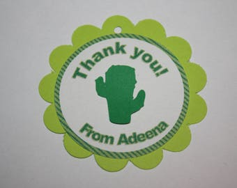 12 Cactus Die Cut - Favor Tags - Gift Tags - Thank you Tags