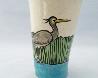 Great Blue Heron in the Marsh Tumbler
