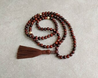 Red Tiger Eye Mala Beads with Swarovski Pearls - Motivation - Confidence - Self Esteem - Meditation Necklace - Item # 808