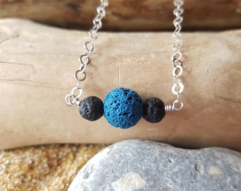 Colourful Essential Oil Diffuser Necklace-Aromatherapy Jewelry-Jewellery-Sterling Silver-Lava Stone-Two Tone-Vegan Friendly, Fair Trade
