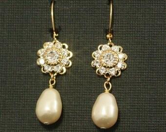 Bridal Jewelry Earrings, Pearl Rhinestone Earrings, Gold Vintage Wedding Earrings, Dangle Bridal Earrings - VINTAGE ROMANCE
