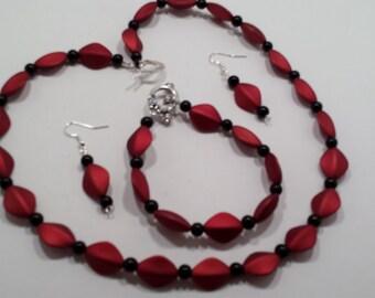 Red and black necklace, bracelet & earring set.