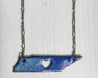 Enameled Light Green and Navy Tennessee with Heart Necklace
