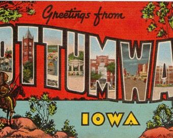 Linen Postcard, Greetings from Ottumwa, IOWA, Lake Wapello, Large Letter