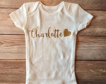 Gold Glitter Baby Name Outfit, Newborn Headband, Newborn Bow, New Baby Outfit, Baby Girl Outfit, Baby Shower Gift