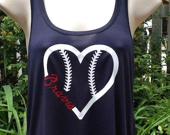 Atlanta Braves baseball heart tank top, flowy tank top, baseball tank top, baseball mom tank top, braves tank top