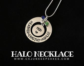 Halo Necklace | Personalized | Hand Stamped Jewelry | Gifts For Mom