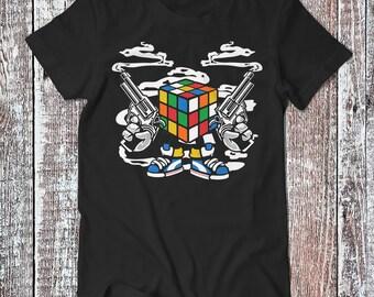 Gangster Rubix , Rubix Cube Tee , Old School Game T-shirt , Funny Shirt