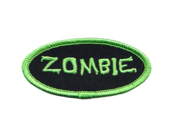 Zombie Name Tag Patch Novelty Dead Badge Symbol Embroidered Iron On Applique