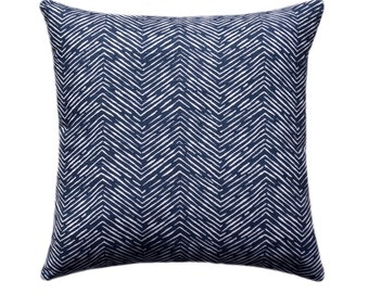 Navy Blue Herringbone OUTDOOR Decorative Pillow Cover, Navy Throw Pillow, Patio Accent Pillow 12x16, 16x16, 18x18, 21x21, 23x23, 24x24