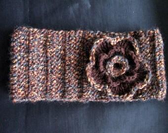 Brown Headwarmer women Headband with Flower Ear Warmer Soft Women Crochet Hand Knit Warm