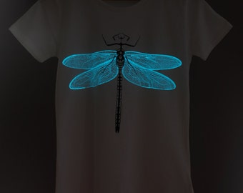 Blue Dragonfly Glow-in-the-dark Woman T-shirt