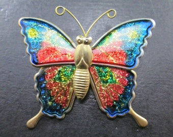 Vintage Butterfly Gold Tn & Iridescent Enamel Brooch Pin