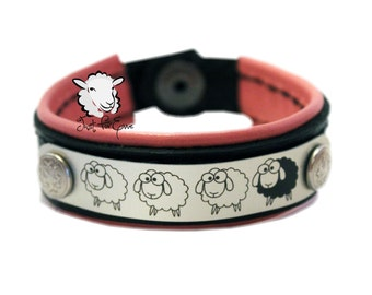 "Sheep Bracelet Pink Lined - Black Leather - Pink Leather - SIZE 7.5"" - Just For Ewe"