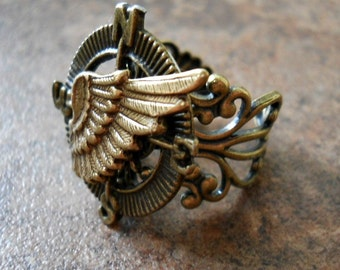 THE ORIGINAL Winged Navigator Steampunk Compass Ring