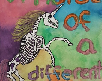 A Horse Of A Different Color Original Painting, Unicorn, Wall Art, Skeleton horse