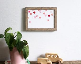polka dots wall art print - pink bubbles spots nursery decor pink blush watercolor 5x7 painting home decor modern art