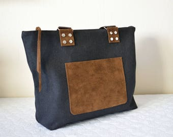 Brown Suede Bag,Black Canvas Tote,Canvas Zippered Tote,Zippered Canvas Tote,Gray Canvas Tote,Fabric Tote,Boho Tote,Fabric Bag,Everday Tote