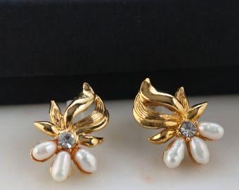 Gold Pearl Earrings - Crystal Earrings - Gold Flower Earrings