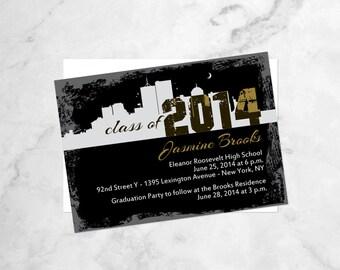 Manhattan Skyline Invitations - Graduation Invitations with City Skyline - NYC Skyline Graduation Invitations - New York City Skyline Invite