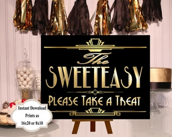 PRINTABLE Sweeteasy Candy sign,Gatsby party decoration, Roaring 20s Art deco,Wedding Sign, Wedding Decor, Candy Buffet Sign,